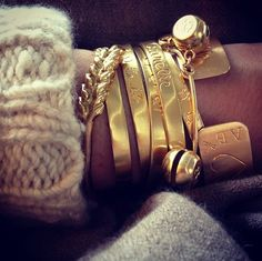 Aurélie Bidermann's classic combo ! Bells Bracelet & Gold engraved bangles & Gold Wheat bracelet