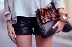 sequin shorts and leopard