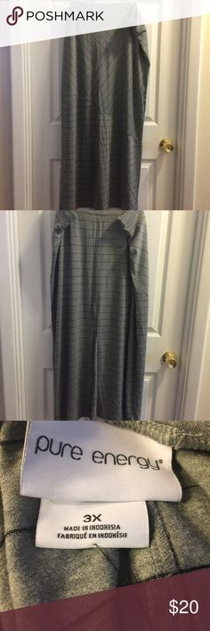 Pure Energy gray black striped Maxi skirt 3X New Pure Energy gray and black striped Maxi skirt with an elastic waistband and back slit in a size 3X.  Waist- 44 in. Length- 44 in. Pure Energy Skirts Maxi