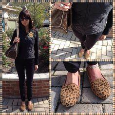 Ralph Lauren Vest in black, black top, black skinnies, Ugg Alloway Studded Leopard print smoking slippers and LV Delightful. #Fallfashion