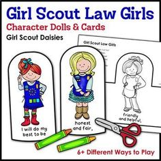 Girl Scout Law Girls: Character Dolls & Cards - Girl Scout Daisies - Daisies enjoy fun games and activities with this super cute set of Daisy-themed character dolls and cards that help them learn and recite The Girl Scout Law during troop meetings, ca Girl Scout Daisy Petals, Daisy Girl Scouts, Girl Scout Law, Girl Scout Badges, Girl Scout Activities, Girls Characters, E Cards, Scouting, Super Cute