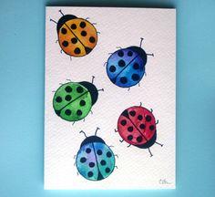 Watercolor card, (No. 67),greeting card, ladybugs, bugs, OOAK, original watercolor, hand painted card, blank inside. $4.75, via Etsy.