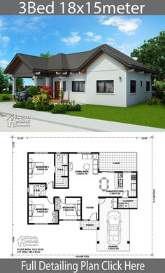 Home design plan with 3 Bedrooms - Home Ideas - House Architecture Little House Plans, Dream House Plans, Modern House Plans, Small House Plans, Bungalow Floor Plans, Bungalow House Design, Small House Design, Philippines House Design, House Design Pictures