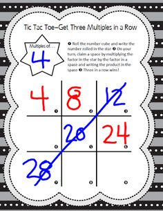 Math Coach's Corner: Multiples Tic Tac Toe Game. Students use a familiar tic tac toe board to practice their basic multiplication facts in this FREE game.