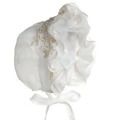 A bonnet is any of a wide variety of headgear for both sexes-most often female-from the Middle Ages to the present.As worn by women and girls,bonnets were hats worn outdoors which were secured by tying under the chin, and often which had some kind of peak or visor,took the place of protection... see more details at https://bestselleroutlets.com/baby/apparel-accessories/baby-girls/product-review-for-hanakimi-lace-royal-baby-bonnet-handmade-km067-s6m-white/
