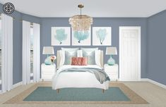 View this Contemporary, Coastal Bedroom design from Havenly interior designer Maria. Shop products and even get started designing your own space. Coastal Bedrooms, Shabby Chic Bedrooms, Cheap Queen Bedroom Sets, Cheap Furniture, Furniture Design, Kitchen Furniture, Bedroom Themes, Bedroom Decor, Master Bedroom Interior