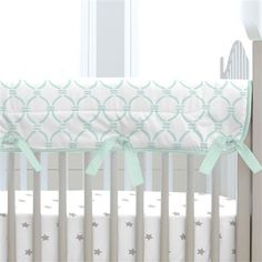Mint Circles Crib Rail Cover made with care in the USA by Carousel Designs. Measures approximately long by wide. Crib Rail Guard, Crib Rail Cover, Lilac Nursery, White Nursery, Baby Boy Nurseries, Baby Cribs, Carousel Designs, Baby Furniture, Crib Bedding