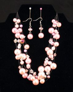 New Layered Pink Pearl Bead Necklace Earrings Chunky Sparkly Bling Christmas