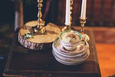 vintage wedding china, fairytale forest wedding inspiration