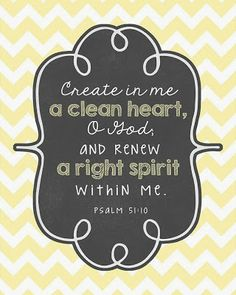 Psalm 51:10 // Bible Verse // Prints // Yellow Chevron
