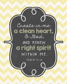 Psalm 51:10 // Bible Verse // Prints // Yellow Chevron