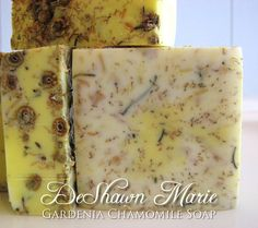 ~Gardenia Chamomile Handmade Soap~    Soft, feminine and seductive this soap seems to seduce the senses in a clever way. Containing the sensual oil of Gardenias and the soothing aroma of Chamomile this soap attracts your feminine side in more ways than one. Chamomile floats throughout the soap for skin nutrition and calming properties, but also serves as an exfoliant. Enjoy!    All of my soaps are made from nourishing Coconut Milk, Herbs, Fruit & Vegetable ingredients. Ingredient list can…