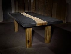 Custom Made Concrete Table With Wood Inlay