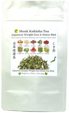 Monk Kukicha tea  Traditional Japanese Weight loss & Detox Diet tea  Plus Laxatives & Colon cleansing with calming & stress relief.