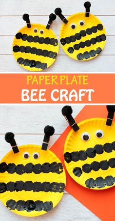 Pom Pom Crafts & Activities - HAPPY TODDLER PLAYTIME - - Here is a list of creative and easy pom pom activities and crafts for toddlers and preschoolers. From sensory and learning activities to arts and crafts! Bee Crafts For Kids, Summer Crafts For Toddlers, Toddler Arts And Crafts, Paper Plate Crafts For Kids, Daycare Crafts, Classroom Crafts, Craft Activities For Kids, Fun Crafts, Learning Activities