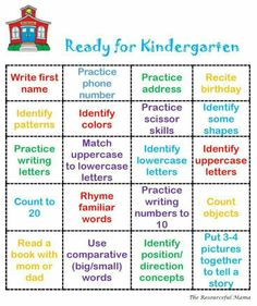 Ready for Kindergarten Bingo This is an easy printable to put into a Getting Ready for Kindergarten Packet that you can share in your kindergarten round up materials or what you send home over summer to welcome your newbies. Ready for Kindergarten Bingo Preschool Assessment, Preschool Prep, Preschool At Home, Preschool Lessons, Preschool Classroom, Preschool Phonics, Free Printables Preschool, Preschool Themes By Month, Preschool Life Skills