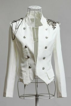 Cheap Cool Style Stand Neck Shoulder Decoration Long Sleeves Double Breasted Cotton Blend Blazer For Women (WHITE,M), Blazers - Rosewholesal. Love Fashion, Korean Fashion, Fashion Outfits, Fashion Ideas, Cool Kids Clothes, Dresses For Less, Cool Style, My Style, Sammy Dress
