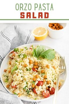 Light and flavorful Orzo Pasta Saladis so easy to make with orzo pasta, fresh cherry tomatoes, chickpeas, arugula, and basil, all tossed in a delicious lemon vinaigrette. This healthy 30-minute vegan main course or side dish option is perfect for meal prep and great for potlucks and picnics! Lemon Orzo Salad, Orzo Salad Recipes, Easy Pasta Salad, Healthy Pasta Recipes, Healthy Pastas, Healthy Side Dishes, Side Dish Recipes, Vegetarian Recipes, Vegan Main Course
