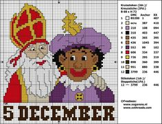 Sinterklaas Xmas Cross Stitch, Cross Stitch Charts, Cross Stitching, Cross Stitch Embroidery, Embroidery Patterns, Cross Stitch Patterns, Childrens Holidays, C2c Crochet, Chrochet