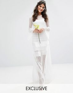 Bodyfrock Bridal Pleated Maxi Dress With Fluted Sleeves|Wedding Dresses