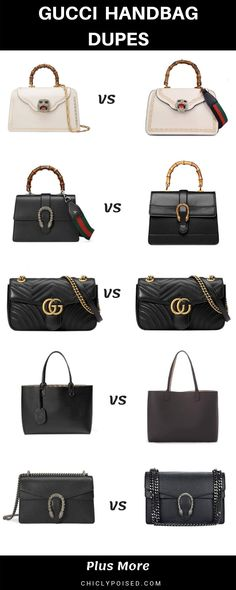 This is the ultimate Gucci bags dupe list! If you're looking to be Gucci Gucci without the price tag this list is the hookup, enjoy! Gucci Purses, Chanel Handbags, Louis Vuitton Handbags, Chanel Bags, Gucci Bags, Fashion Handbags, Luxury Bags, Luxury Handbags, Celine Nano Luggage