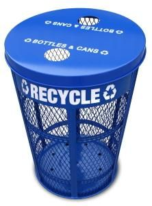 Expanded Metal Recycling Receptacle Heavy Duty Parks and Recreation Can