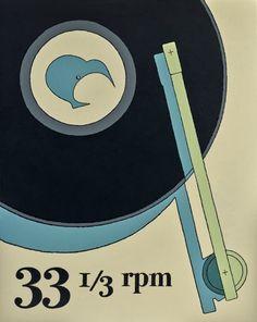 33 rpm - new retro style print by kiwi artist Hamish Allan Period Color, White Box Frame, Thing 1, Retro Images, Wall Art For Sale, New Print, Print Store, Retro Art, Box Frames