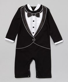 Another great find on #zulily! Black & White Tuxedo Playsuit by Stephan Baby #zulilyfinds