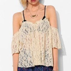 Kimchi Blue Urban Outfitters | lace off shoulder Lacey beige off the shoulder top with spaghetti straps and *cold shoulder* sleeves. Sheer and cropped in the back, back has buttons (you could also wear it unbuttoned and turned around as a vest?!) love over a cute bralette or bathing suit Kimchi Blue Tops Blouses