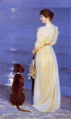 P.S. Krøyer Sommeraften ved Skagen. 1892 Marie Krøyer og hunden Rap på Skagen Sønderstrand