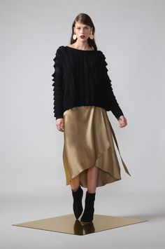 pleat sweat / black by Moochi. Everyday luxury, from off-duty essentials to coveted designer pieces. Buy Now! Liquid Gold, Winter Sweaters, Off Duty, Fashion Details, Work Wear, Buy Now, Ballet Skirt, Winter 2017, Skirts