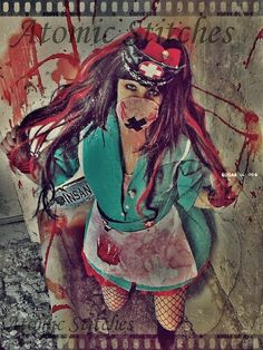 ♥Sexy yet creepy is my specialty    Asylum Nurse Includes:  ♥ Teal Vintage Nurse Dress  ♥ Wig Black and Red mix  ♥ Embellished nurse cap/crown  ♥