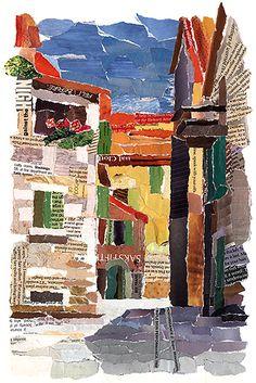 noli novak collage art, paper tearing