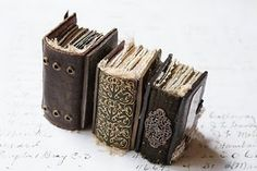 miniature tomes. decorative spines.