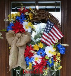 Grapevine PATRIOTIC Wreath with BEAUTIFUL FLOWERS and by decoglitz