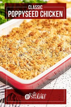 Classic Poppy Seed Chicken has the most amazing cream based sauce and a buttery, Ritz cracker topping that we just can't get enough of. This casserole is simple to make and quick to prepare before letting your oven do the rest of the work. Make sure to give this recipe a try! Poppy Seed Chicken Casserole, Stay At Home Chef, Ritz Crackers, Yummy Chicken Recipes, Most Popular Recipes, Nice Cream, Best Dinner Recipes, Chicken And Dumplings, Lemon Chicken
