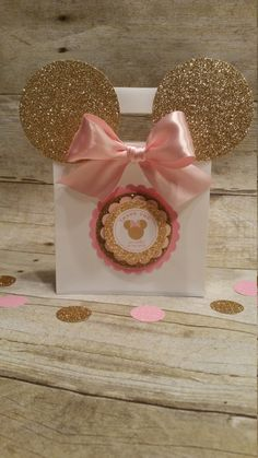 Pink and gold Minnie Mouse Inspired bags by HeidiPartyCreations