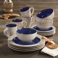 Mistana Esparza 16 Piece Dinnerware Set, Service for 4 Blue Dinnerware Sets, Square Dinnerware Set, China Dinnerware, Rustic Dinnerware, Porcelain Dinnerware, Vase Deco, Terracotta, Ceramic Materials, Dish Sets