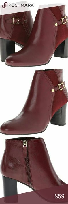 Franco Sarto Women's Deora Boot Bordo 7.5 Synthetic upper with stretch suede. Side-zip closure. Almond toe. Synthetic lining. Lightly padded footbed. Stacked heel. Synthetic sole. Imported. Measurements: Heel Height: 3 in Weight: 15 oz Shaft: 3 3?4 in Franco Sarto Women's Deora Boot, Bordo, 7.5 M US  Brand new in original box   MSRP  $99.00  Color: bordo  ( #burgundy #wine ) Franco Sarto Shoes Ankle Boots & Booties