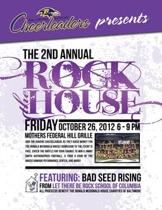 SAVE THE DATE RAVENS FANS!! we're hosting our 2nd annual Rock the House Fundraiser for the Ronald McDonald House Charities of Baltimore on Friday October 26 from 6-9PM at Mothers in Federal Hill! Admission is free so come hang out with us, purchase some raffle tickets for a chance to win a Jimmy Smith autographed football, a tour for four of the Under Armour Performance Center and more and show your support for a great cause!