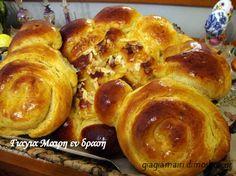 Τσουρέκια με ζαχαρούχο Greek Recipes, Sweet Bread, Food To Make, Cake Recipes, French Toast, Muffin, Food And Drink, Cooking Recipes, Sweets