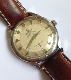 Vintage Omega Constellation Piepan Chronometer On Calfskin Leather Strap Circa Omega Constellation, Vintage Omega, Vintage Watches, Luxury Watches, Chronograph, Omega Watch, Rolex, Watches For Men, Bling