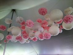 Lanterns poms wedding tent