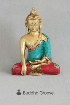 Brass Shakyamuni Buddha Statue with Colorful Detailing Lotus Position, Little Buddha, Gautama Buddha, Yoga Gifts, Coral Color, Accent Colors, Namaste, Poppies, Meditation