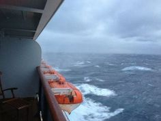Cunard Queen Mary 2 in stormy seas in the Atlantic