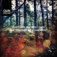 Inspiration Quote: Don't ask me why I run. Ask yourself why you don't