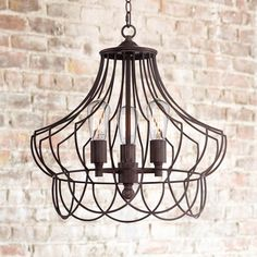"Hansel 19 1/2"" Wide Bronze Metal Edison Swag Chandelier"