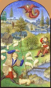 """""""The Annuciation to the Shepherds"""" from the Trivulizo Manuscript Book of Hours, late 15th century, by Simon Marmion (1425-1489), a French painter of illuminated manuscripts."""