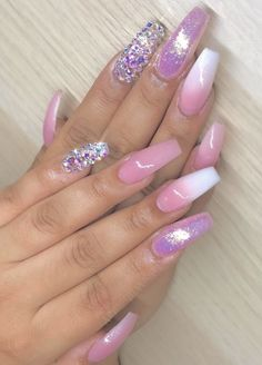 Love these french ombre and pink lilac nails - New Ideas Cute Acrylic Nails, Cute Nails, Pretty Nails, Fabulous Nails, Gorgeous Nails, Bling Nails, Swag Nails, Pretty Nail Designs, Nail Art Designs