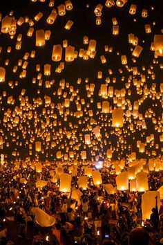 Flying candles night Outdoor Party Lighting http://pinterest.com/wineinajug/outdoor-party-lighting/